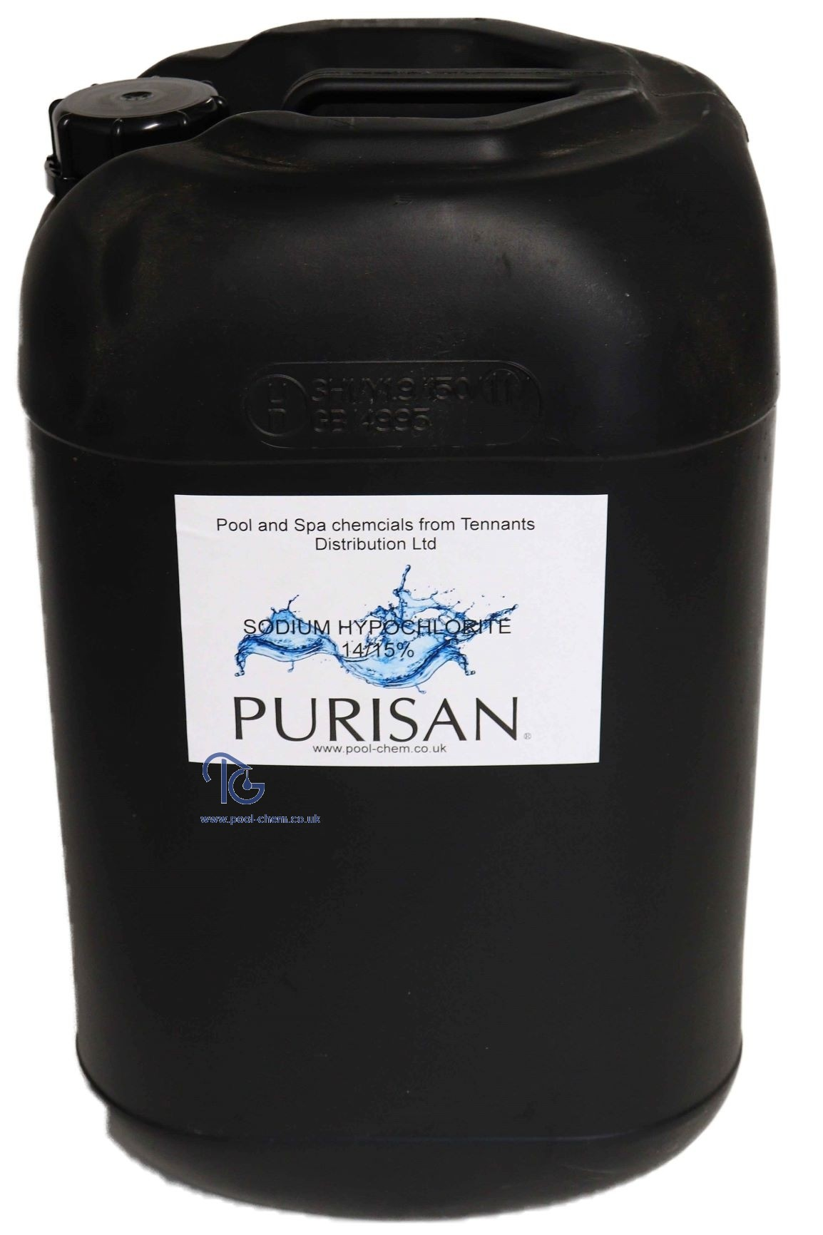 20ltr Purisan® Liquid Chlorine 14-15%  (Sodium Hypochlorite) - Non-Returnable Polican* - COLLECTION ONLY