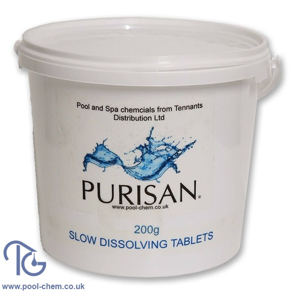 Purisan 200g Slow Dissolving Chlorine Tablets