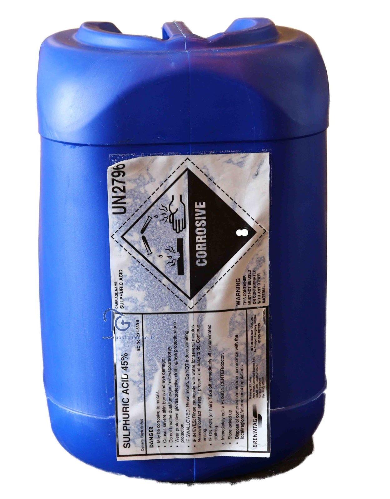 Sulphuric Acid 45% (28Kgs Polican) - Swimming Pool Chemicals