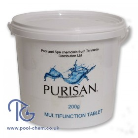 Purisan Multifunction 200g Chlorine Tablet (Trichloroisocyanuric Acid)